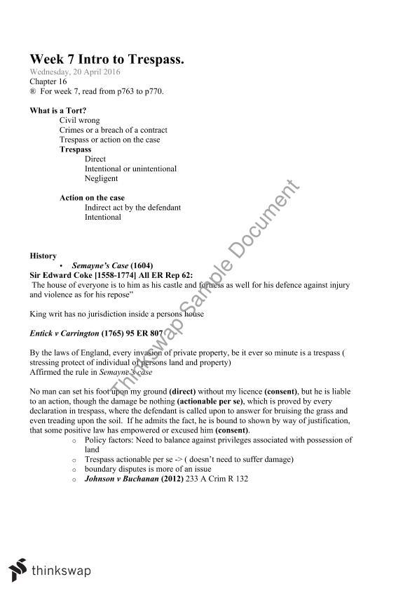 Torts Trespass End of Semester Exam | 2021LAW - Torts 1
