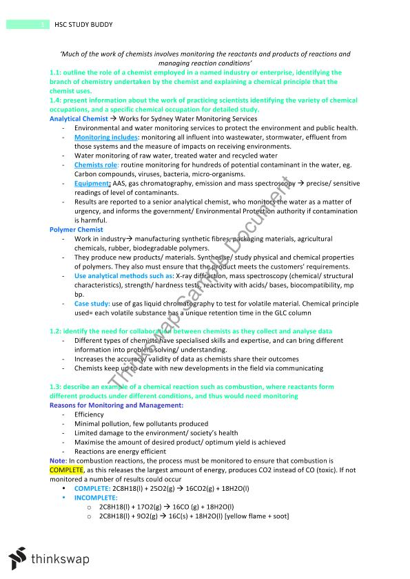 Chemical Monitoring and Management Notes