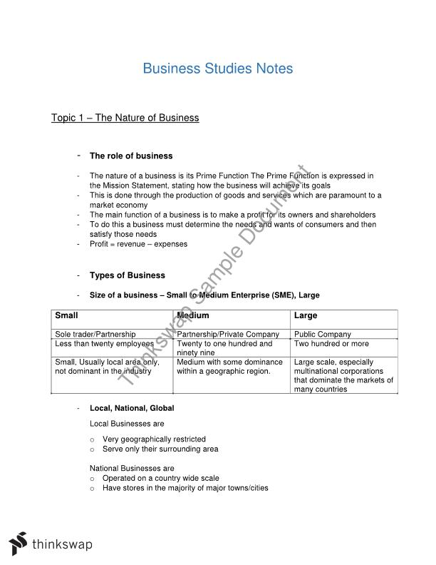 Business Studies Preliminary Notes