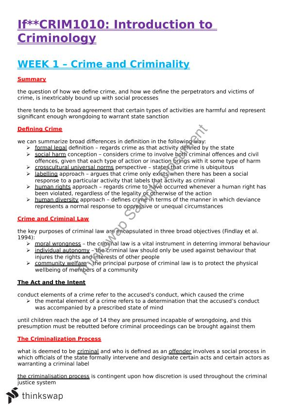 CRIM1101 Full Notes
