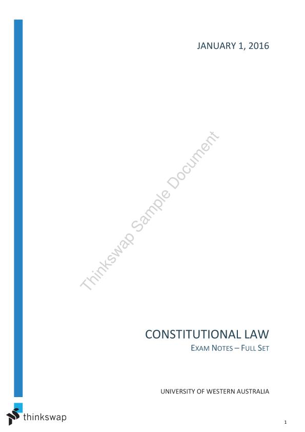 Constitutional Law Exam Notes (Full Set)
