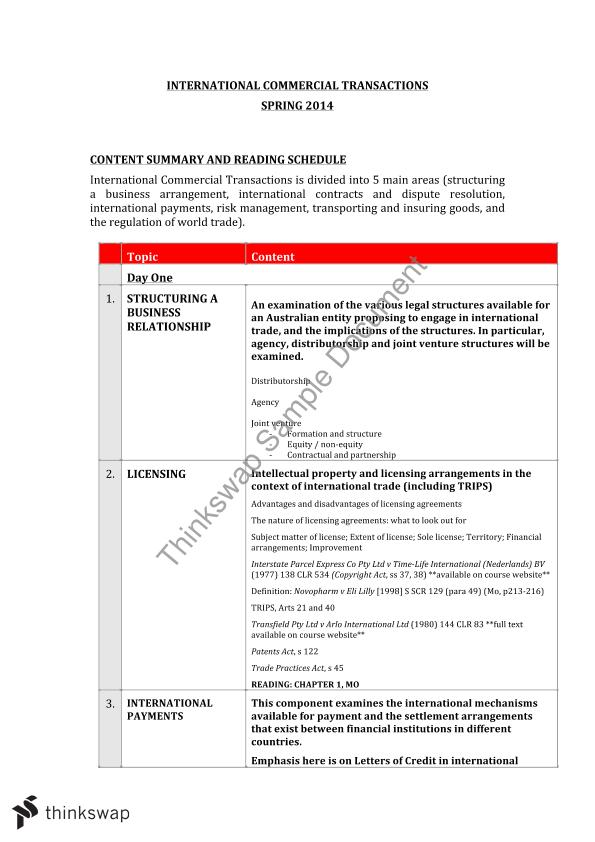 International Commercial Transactions Notes