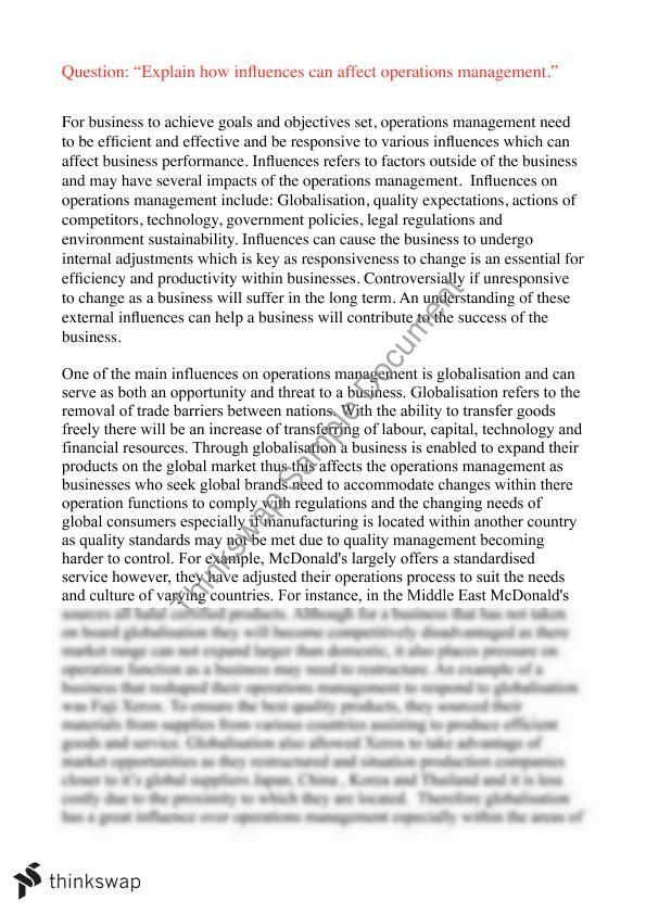 operational management essay Apple's inc operations management introductiondefinitively, the term operations management refers to the decisions, responsibilities and activities of managing.