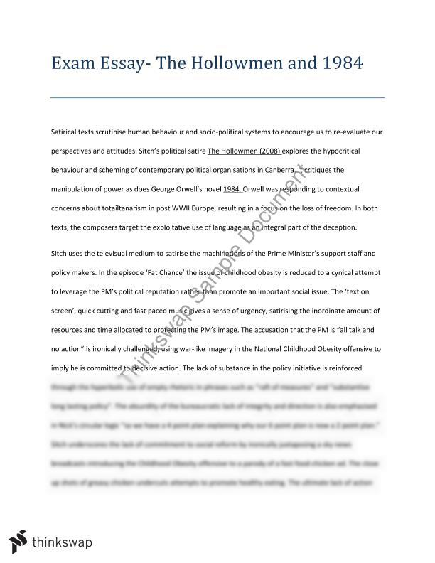 Satire essay year 11 hsc english advanced thinkswap