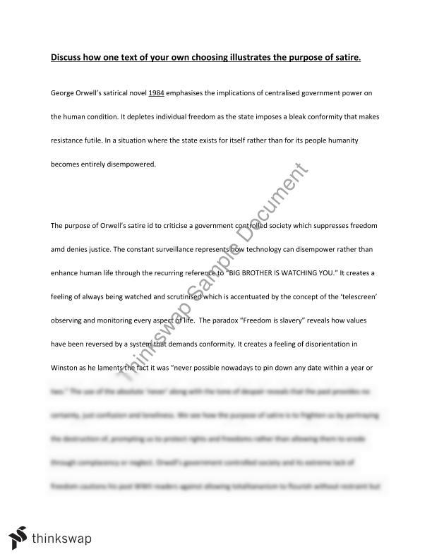 Bullying Essay Thesis A Satire Essay Argumentative Essay Topics On Health also Research Essay Thesis A Satire Essay  Year  Hsc  English Advanced  Thinkswap Examples Of Thesis Essays