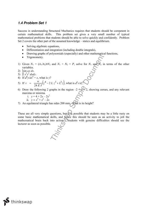 Problem sets | CIVL2201 - Structural Mechanics | Thinkswap