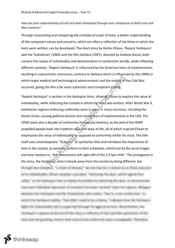 Thesis Example Essay  English Essays Examples also Examples Of Good Essays In English Advanced English Module A Example Essay  Year  Hsc  Thesis For Compare And Contrast Essay