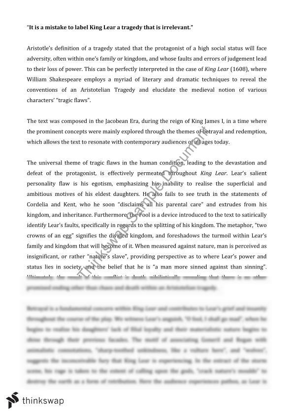 Sample Essay High School Essay On King Lear Essay For Health also Science And Society Essay Essay On King Lear  Year  Hsc  English Advanced  Thinkswap Example Of An Essay Paper