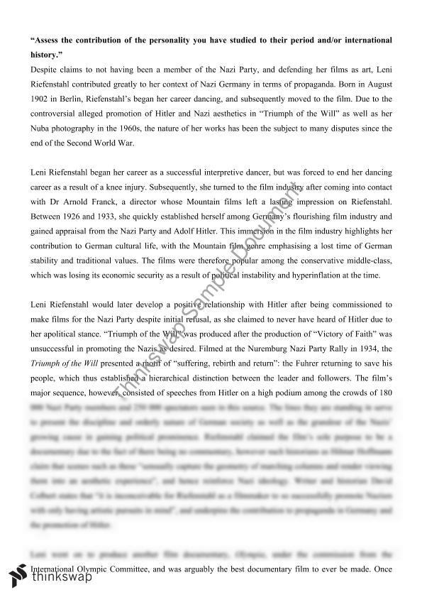 essay on leni riefenstahl year hsc modern history thinkswap essay on leni riefenstahl
