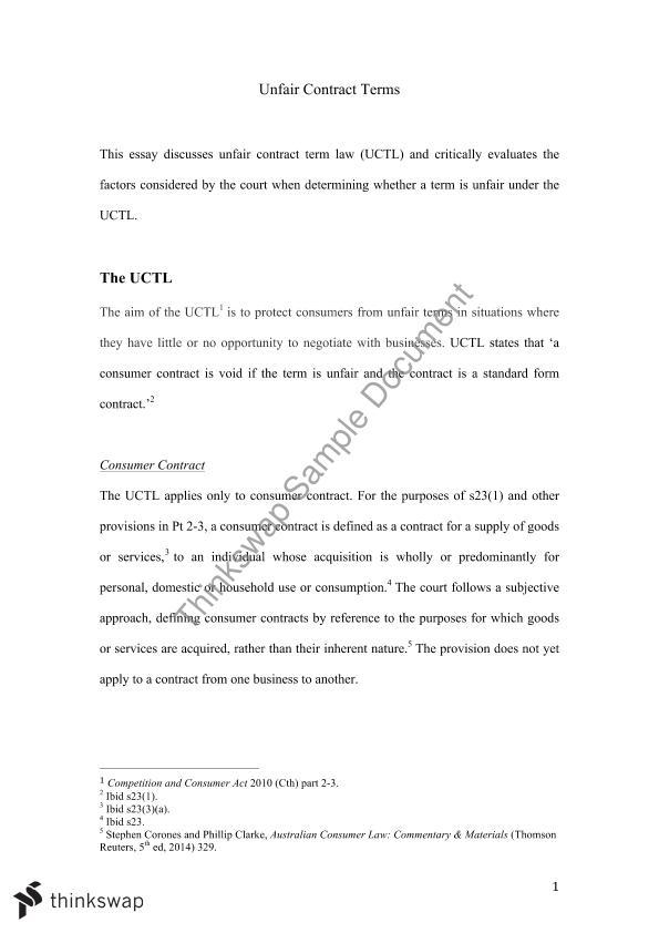 Consumer law essay