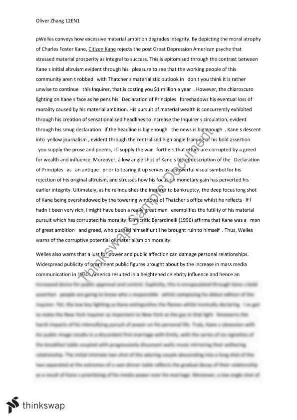 citizen kane essay module b on themes of personal relationships citizen kane essay module b on themes of personal relationships and corruptive power