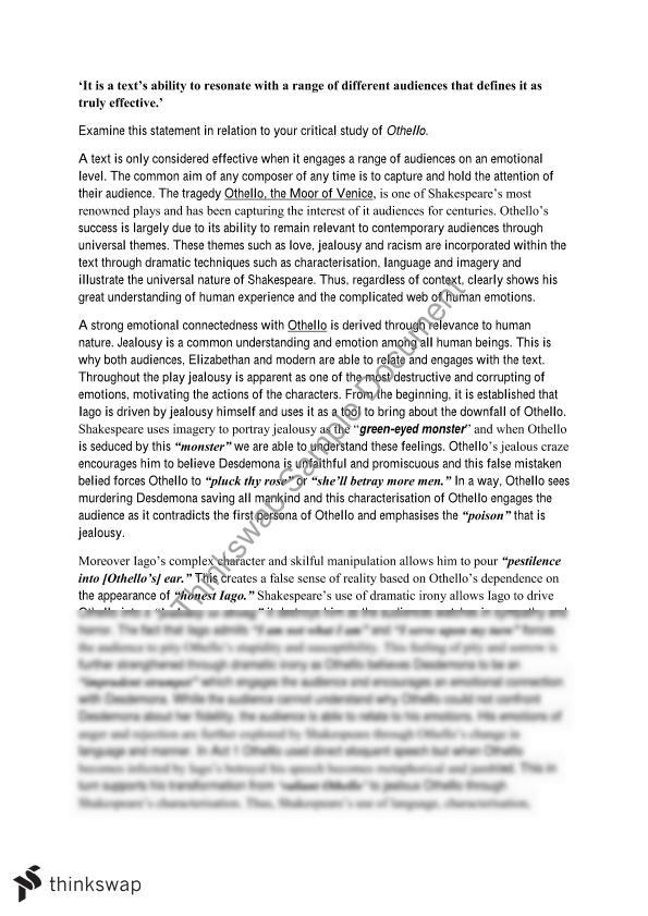 Examples Of Admissions Essays Othello Jealousy Theme Essay Prompts Essay For You Othello Jealousy Theme  Essay Prompts Image  Essay About Water Pollution also Sample College Transfer Essay Othello Jealousy Essay Othello Jealousy Theme Essay Prompts Essay  Sarcastic Essays