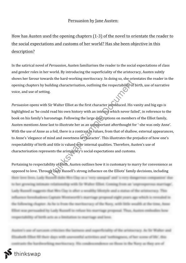 jane austen s persuasion essay year hsc english advanced  jane austen s persuasion essay