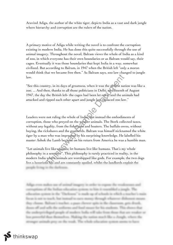 essay on white tiger by aravind adiga