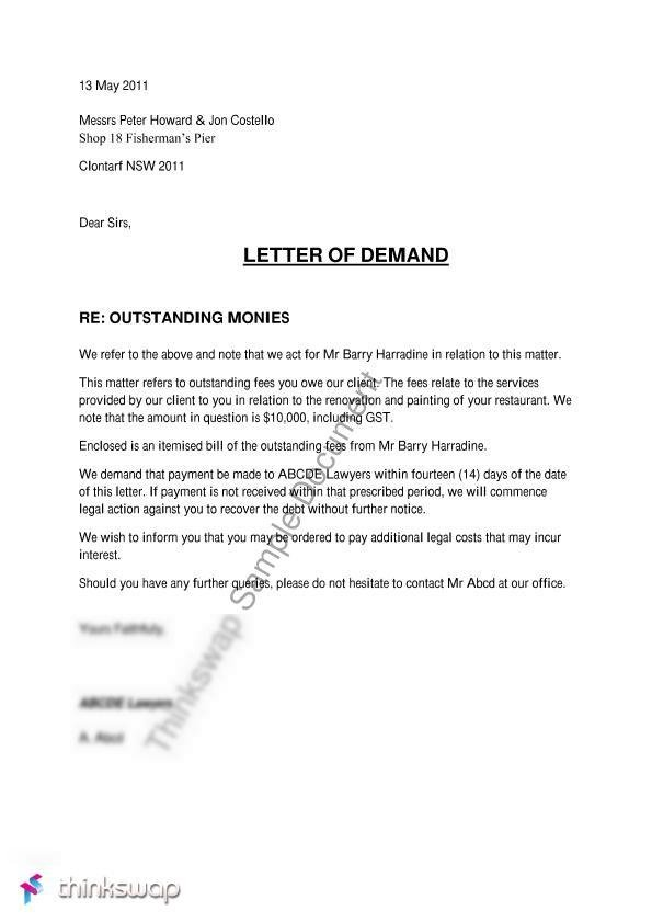 Letter of demand 200006 introduction to law thinkswap document screenshots letter of demand thecheapjerseys Choice Image