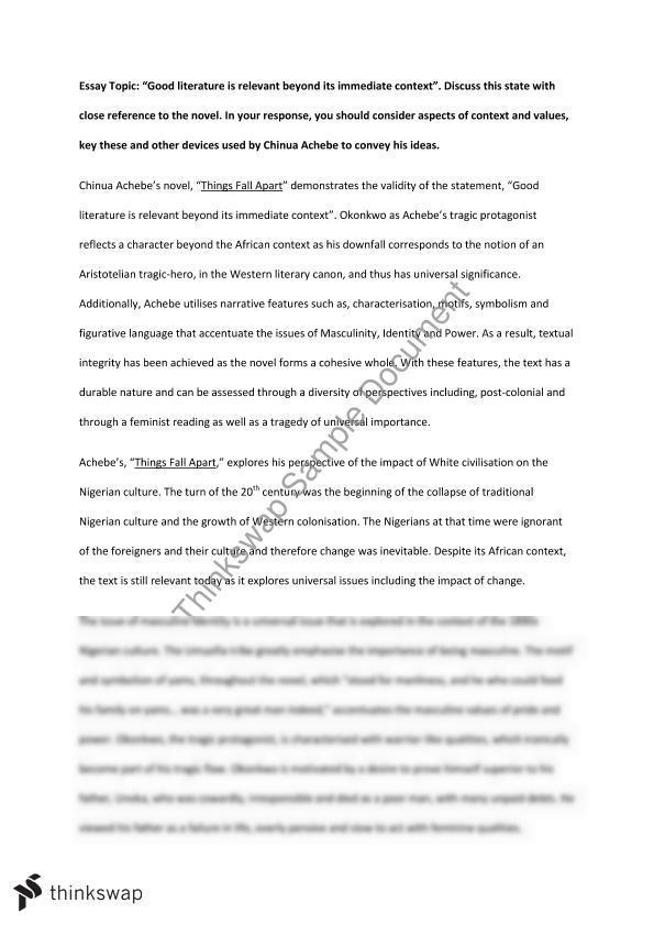 Yr 11 Things Fall Apart Essay | Year 11 HSC - English (Advanced ...