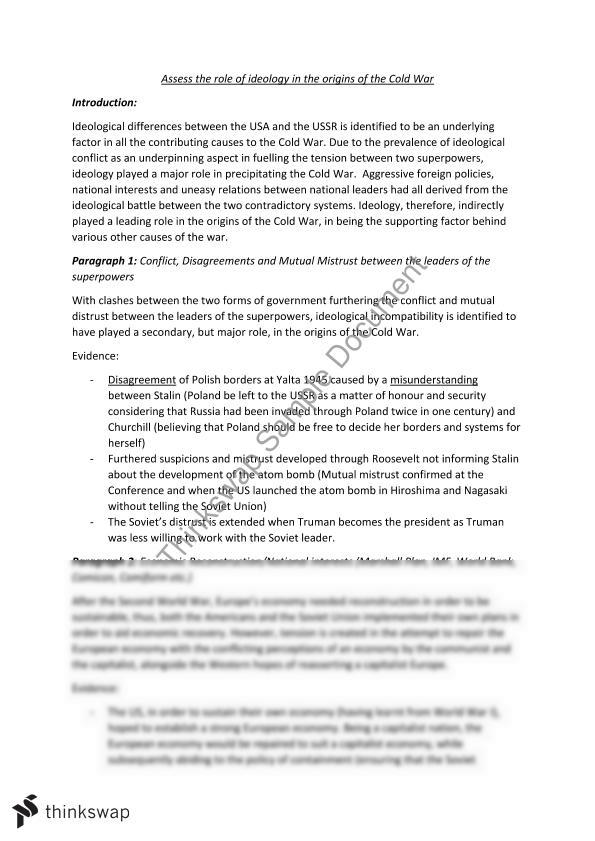 origin of the cold war essays A collection of cold war essay questions written by alpha history authors questions can also be used for short answers, revision or research projects.