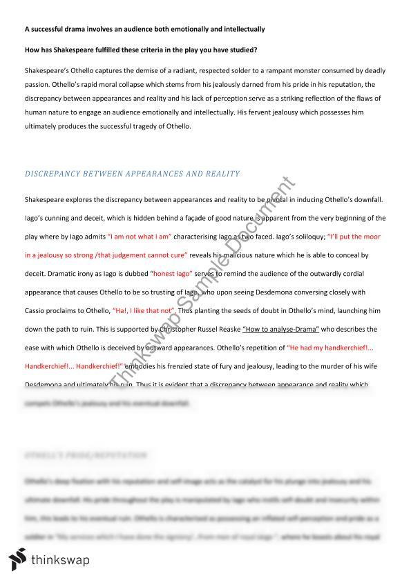 Example Of Essay With Thesis Statement Othello Essay Preliminary Health Insurance Essay also Compare And Contrast Essay About High School And College Othello Essay Preliminary  Year  Hsc  English Advanced  Thinkswap Thesis Statement Essay Example