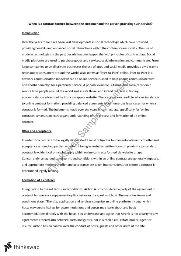 contract law offer and acceptance essays