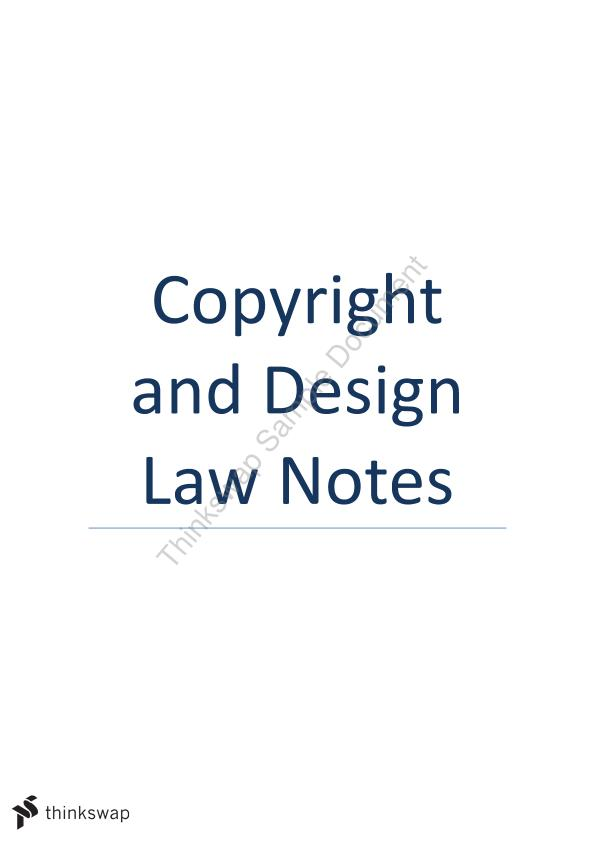 Copyright and Design Law Complete Notes