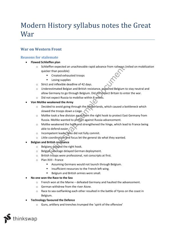 Topic 1 The Great War Syllabus Notes