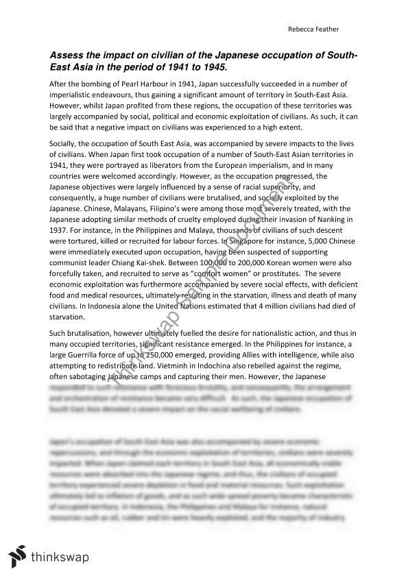 pacific war essay questions The pacific theater of world war ii was one unique and interesting progression and a stark contrast from the events taking place in the european theater of war the war in the pacific did not start out as a race war at all nor did its continuation necessarily qualify it as a race war the united.
