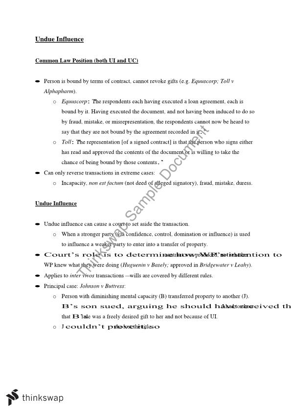 Equity Full Exam Notes - 2010LAW - Equity HD - Griffith