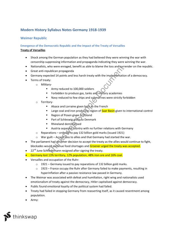 Germany Option C Complete Syllabus Notes