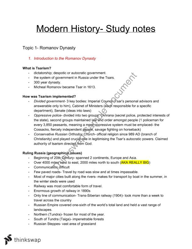 Year 11 Modern History Study Notes