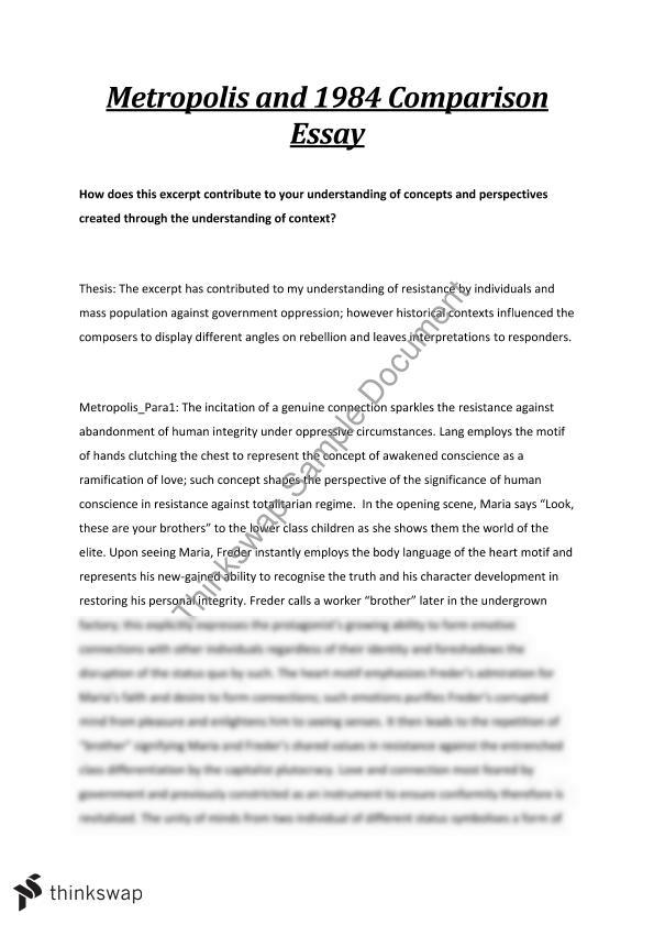Metropolis and 1984 HSC Essay - Resistance and Rebellion | Year 12 ...