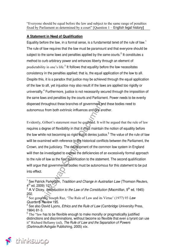 essay on equality before the law- the rule of law | 70115 ...