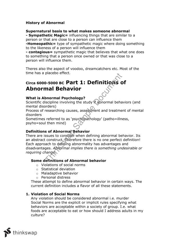 Abnormal Psychology Notes Part 1 | 101681 - Abnormal Psychology