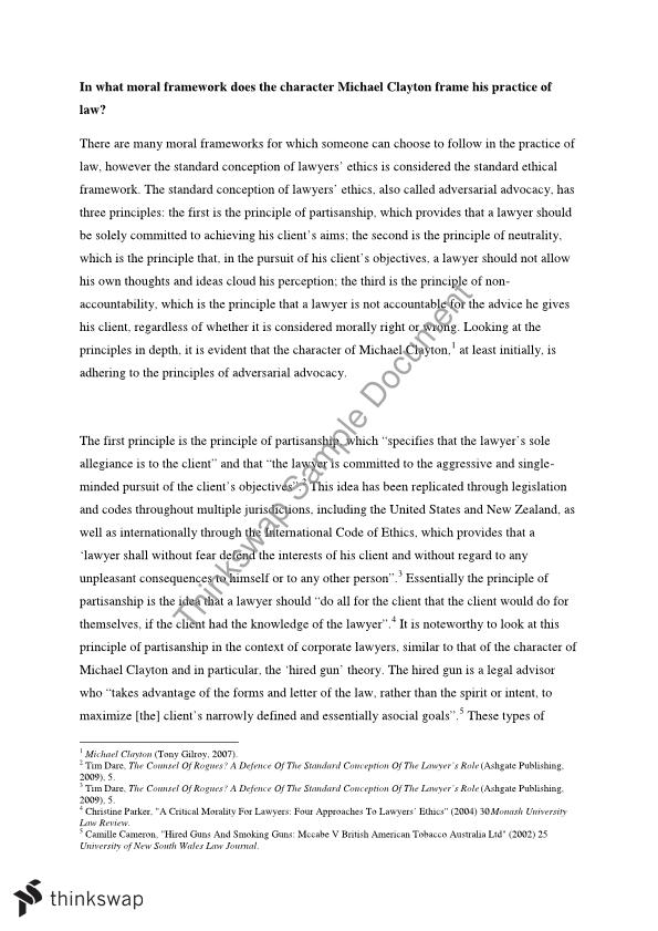 Thesis For A Narrative Essay Essay  In What Moral Framework Does The Character Michael Clayton Frame  His Practice Of Law High School Application Essay Sample also Starting A Business Essay Essay  In What Moral Framework Does The Character Michael Clayton  Help Writing Essay Paper