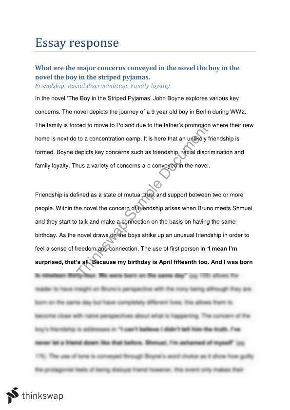 Analysis Essay Thesis Major Concerns In The Boy In The Striped Pajamas Custom Written Business Plans also Sample Of English Essay Major Concerns In The Boy In The Striped Pajamas  Year  Hsc  Compare And Contrast Essay Sample Paper