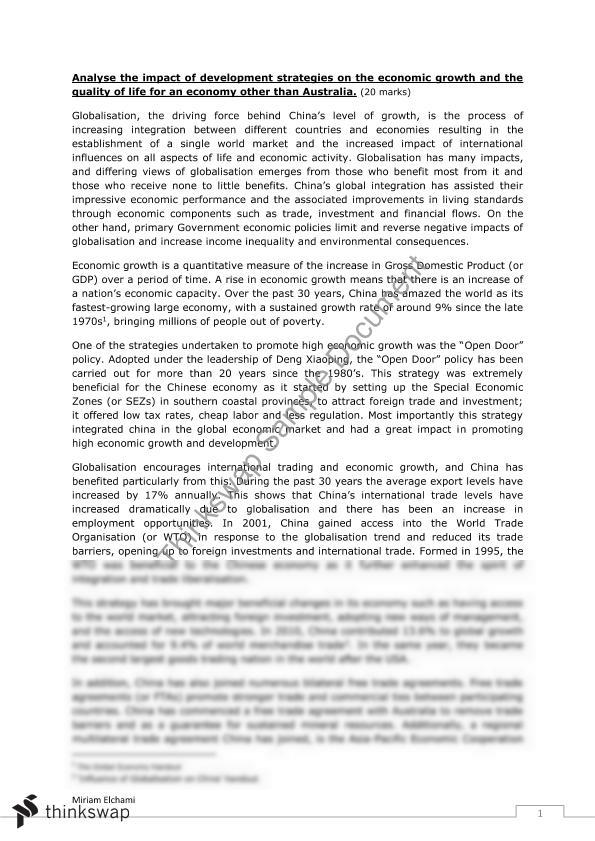 economy of china essays Home essays  problems of chinese economic growth  problems of chinese economic growth 1 pollution  china's economic growth has benefited the south and eastern regions more than anywhere else this has created a growing disparity between north and south the agricultural north has, by contrast, been left behind.