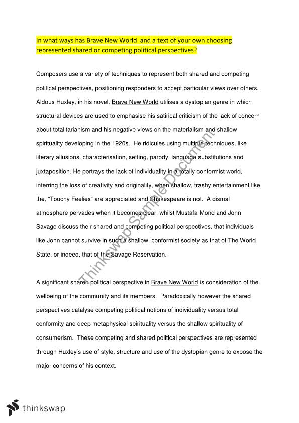 Personal Essay Thesis Statement Examples Hsc English Advanced Module C  Brave New World And August  Essay Federalism Essay Paper also Science Essay Topic Hsc English Advanced Module C  Brave New World And August   Business Communication Essay