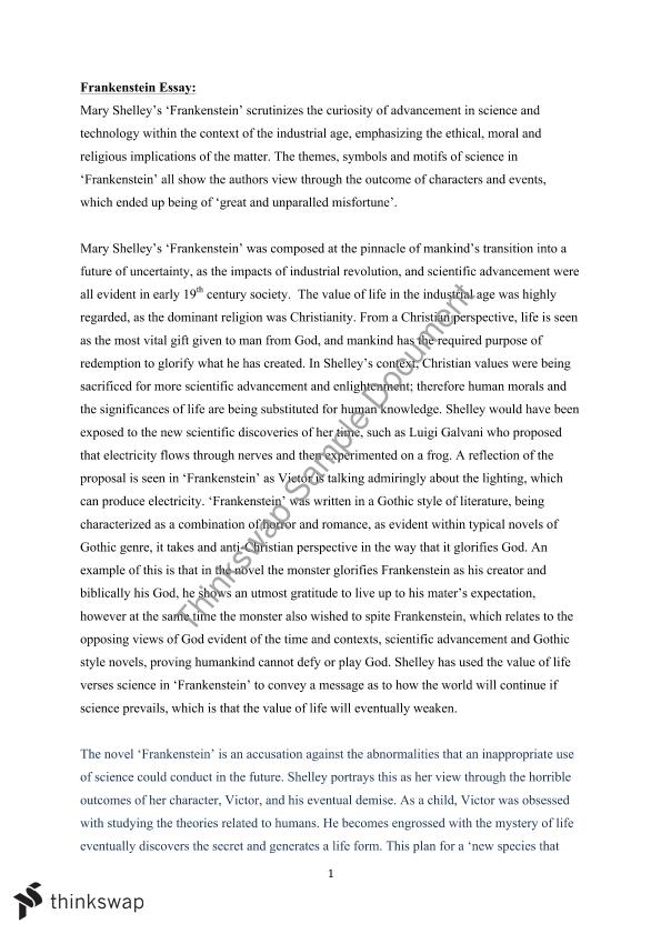 frankenstein and science essay Frankenstein and science science is the knowledge gained by a systematic study, knowledge which then becomes facts or principles essay about the science, technology, and ethics of hiv vaccine research 4289 words | 18 pages isolation in dr frankenstein.