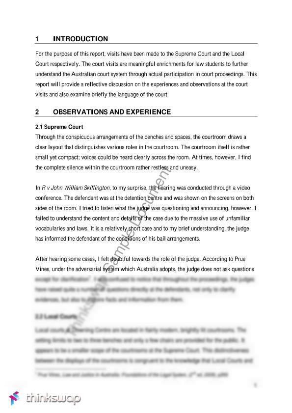 court observation paper sample