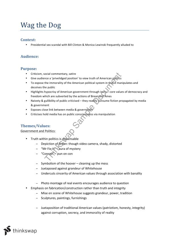 Essay Writing Scholarships For High School Students Module C Wag The Dog Summary Notes Health And Social Care Essays also From Thesis To Essay Writing Module C Wag The Dog Summary Notes  Year  Hsc  English  How To Start A Synthesis Essay