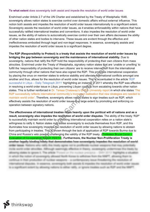 Persuasive Essay Topics For High School Students Hsc Band  World Order Essay Thesis Example For Compare And Contrast Essay also Essay About Healthy Food Hsc Band  World Order Essay  Year  Hsc  Legal Studies  Thinkswap Essay Thesis Examples