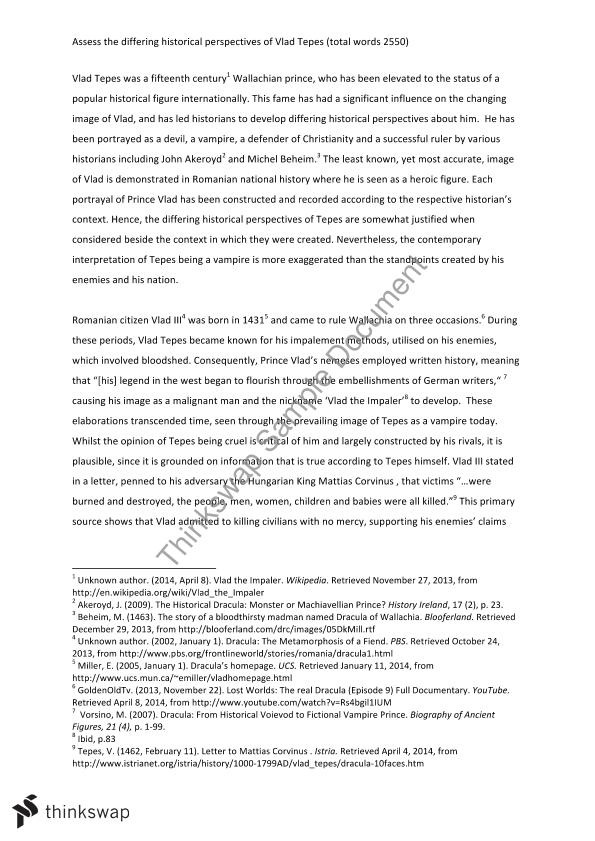 Year 12 HSC History Extension Final Major Work Essay