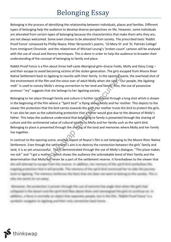 hsc esl belonging essay Acceptance, segregation and the need for social allegiancebelonging essay by asha forsyth 2009 1,403 words fulfilment is th.