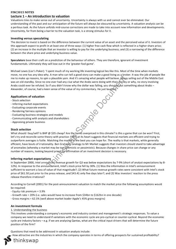Valuations a Case Study Approach Complete Detailed Notes