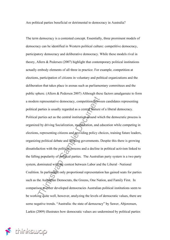 australian  y politics major essay   govt   the australian    australian  y politics major essay