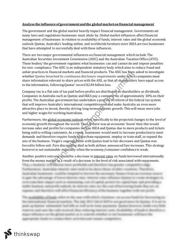business studies finance essay  analyse the influence of   business studies finance essay  analyse the influence of government  and the global