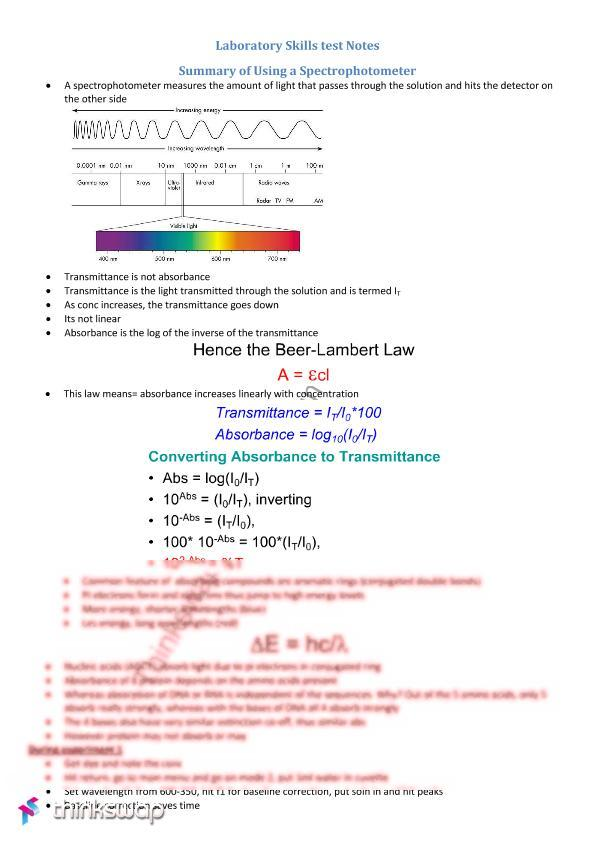 introduction to spectrophotometry lab essay Write a lab report summarizing your findings from the spectrophotometry of dna and rna lab use the following format: abstract a summary of the experiment and your findings introduction write a paragraph about the structure of dna and rna, and read more.