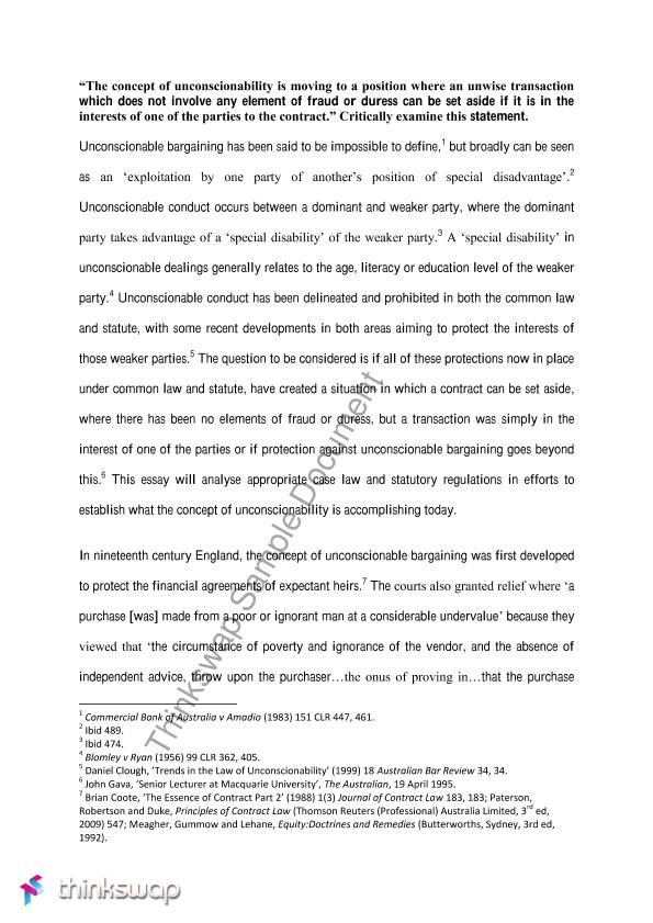Into The Wild Essay Thesis Advanced Contract Essay On Unconscionability Proposal Essay Topic also Teaching Essay Writing High School Advanced Contract Essay On Unconscionability  Llaw  Advanced  Examples Of Thesis Statements For Narrative Essays