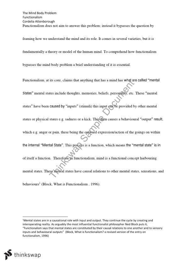 Mind Body Problem Functionalism Essay Year 12 Tce Philosophy