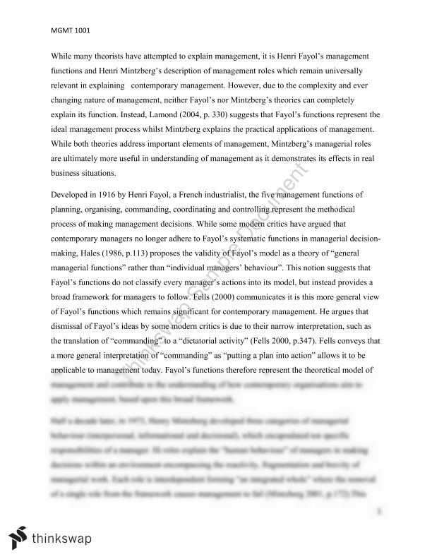 essay henri fayol or henry mintzberg Example essay on management theory for modern managers  this antediluvian bequest of direction provided henri fayol ( 1916 ) , henry mintzberg.