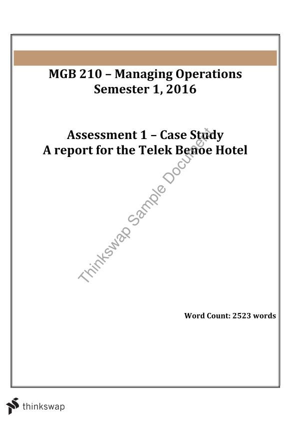 MGB210 - Managing Operations Assessment 1 Case Study